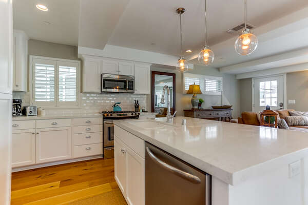 Fully stocked kitchen with large island, state of the art appliances