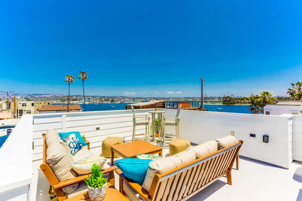 Roof top patio with Bay views, comfortable outdoor furniture