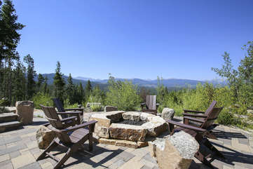 Outdoor gas stone firepit with amazing views