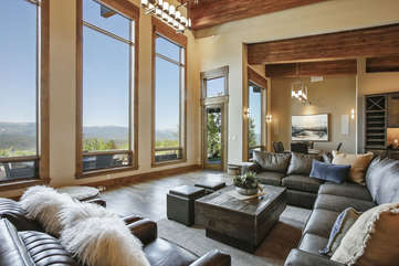 Large open family room with amazing views