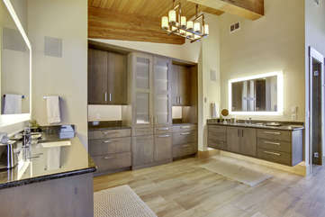 Huge master bathroom with double counter areas