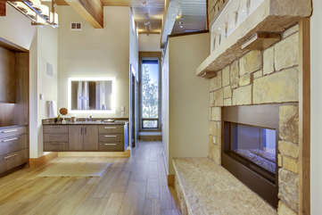 Master bathroom with 2 way gas fireplace