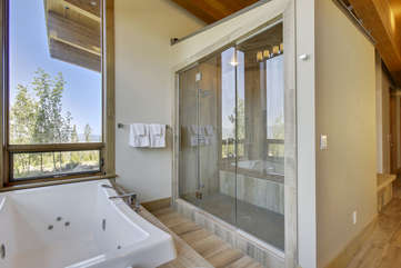 Mater bathroom with jetted tub and large steam shower