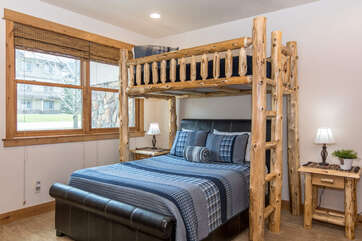 Third bedroom with twin-over-Queen bunk set on lower level