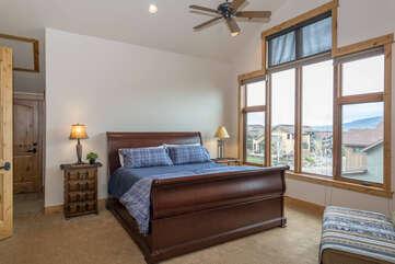 Upper level master bedroom with King hosting new bedding