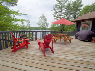 Views from Deck, outdoor dining, Otter Lake