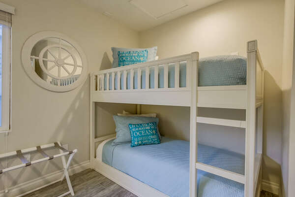 Front bedroom with Queen bed +  Twin/Twin bunk beds