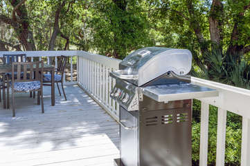 A Weber gas grill is available for your use.