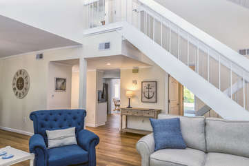 Head upstairs to the master bedroom suite.