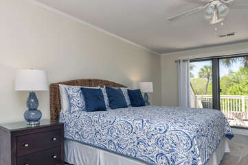 The master bedroom has a king size bed, private en-suite and two decks.