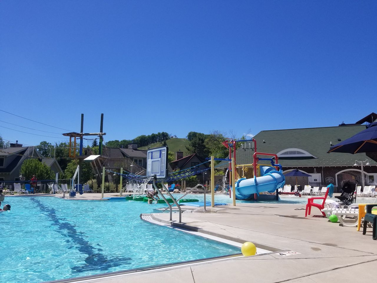 The outdoor swimming area at Crystal Mountain