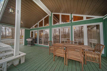 Large Covered Decks overlooking the lake