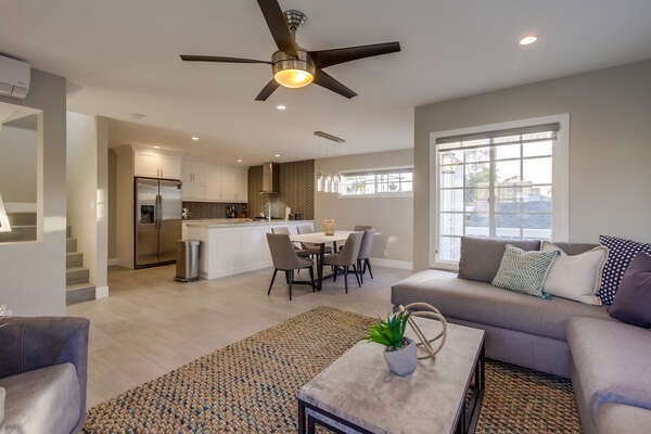 Comfortable living room, opens up to the open concept kitchen/dining area, (2nd floor)