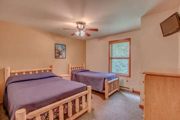 2nd floor bedroom with one double and one twin bed