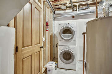 Washer Dryer in home. Detergent and dryer sheets are complimentary on site.