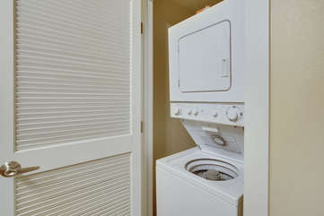 Washer/Dryer in unit, detergent and dryer sheets are supplied.