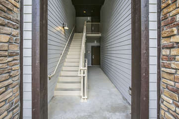 Stairs to the sidewalk and private access to the garage from 2nd level