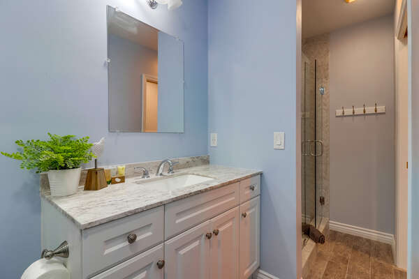 Full Bathroom in Hall with Shower
