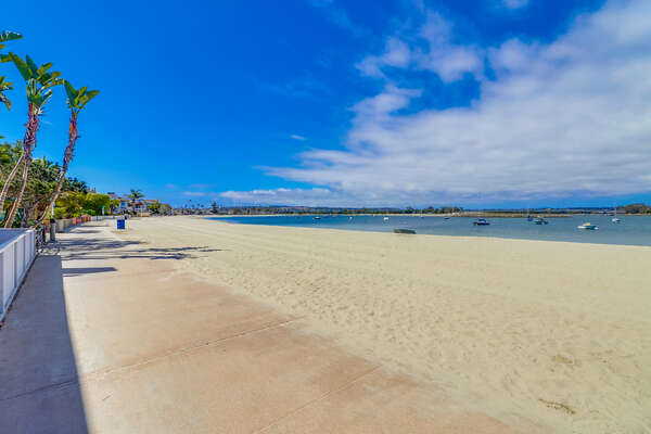 Beautiful Mission bay beach and boardwalk.