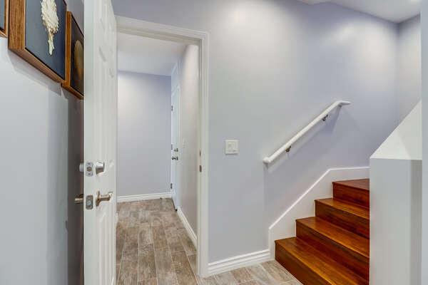 Connecting door from ground floor to upper floor unit.