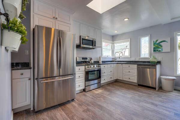 Modern kitchen with updated appliances.