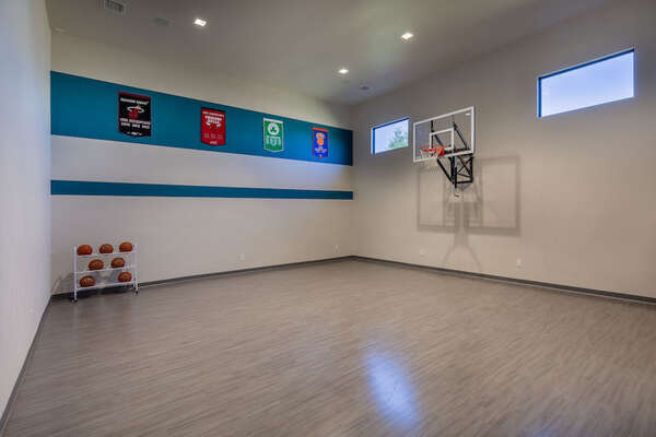 Shoot some hoops in this indoor basketball court