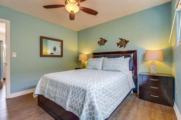 Bedroom 1 with Queen bed, ensuite bathroom and walk-in closet
