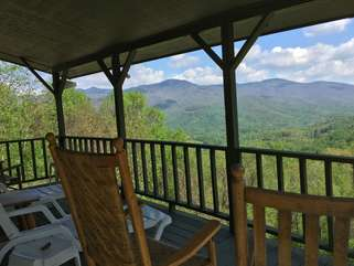 Covered Front Porch With Mountain View