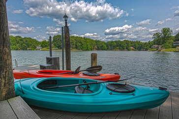 kayaks on dock