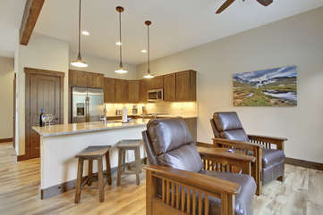 Kitchen with large counter bar area