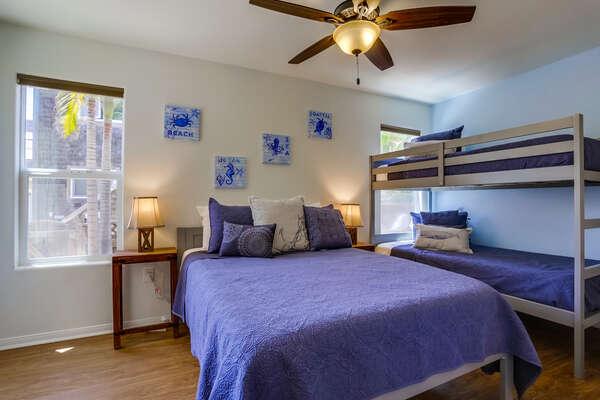 Ground floor bedroom with Twin/Twin bunk + Full bed, TV