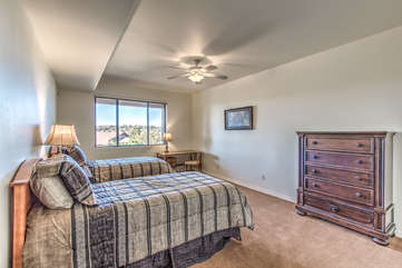Fourth bedroom includes 2 twin beds plus a desk and more tempting mountain views