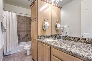 Second bathroom has tub-shower combination