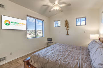 Mountain and wildlife views or watch your favorite sitcom on television in third bedroom