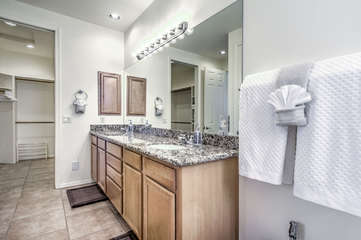 Spacious master bath with dual sinks