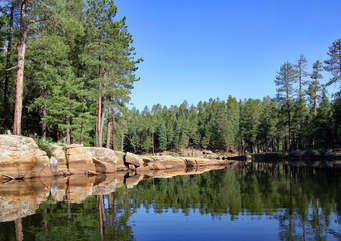 30 minutes away and located on the Mongollon Rim, Woods Canyon Lake Recreation area is part of an outdoor person's paradise with biking, hiking and off-road trails and fishing