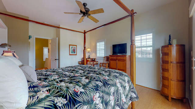 Master Bedroom with TV, Ceiling Fan and Desk