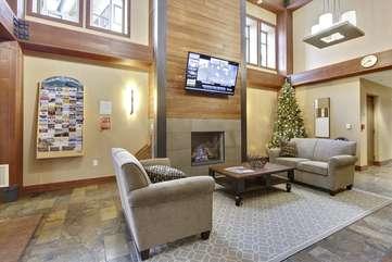 Beautiful 2 story lobby with gas fireplace