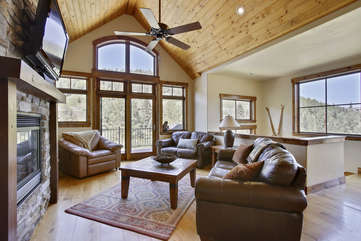 Beautiful family room area with amazing views of Winter Park Resort