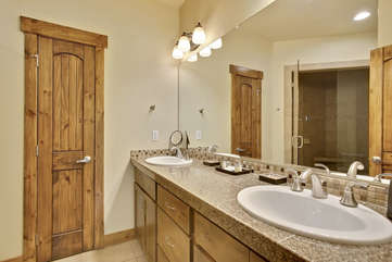 Master bathroom with huge custom steam shower