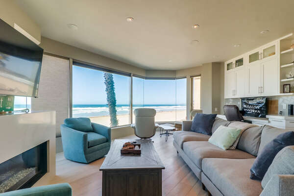 Spacious Living Room with an Oceanfront View