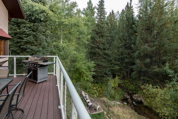 View of the backyard from the main level deck