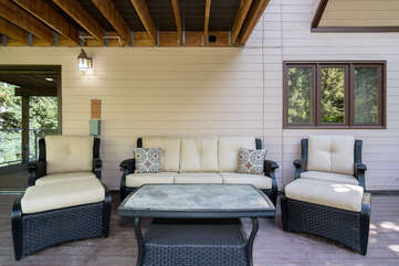 Cozy outdoor furniture on the lower level deck