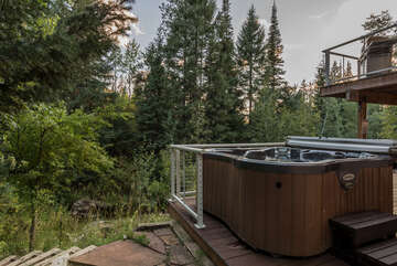 Private hot tub on the lower level deck