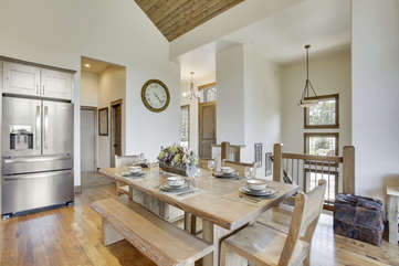 Dining Table, high-end cutlery, and cookware