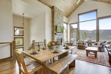 Dining Table and View of Spacious Living Room