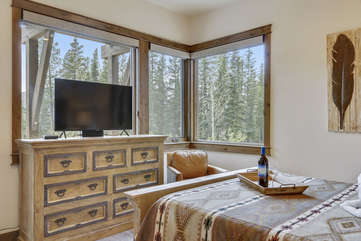 Master bedroom with fantastic views and smart TV