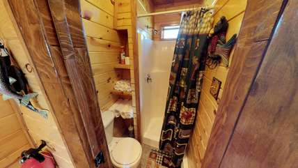 2nd bathroom with shower.  Towels provided