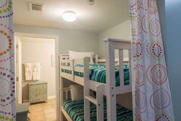 Drapes providing privacy for the people staying in the bunk area