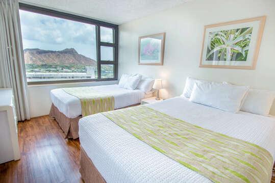 Bedroom with view of Diamond Head
